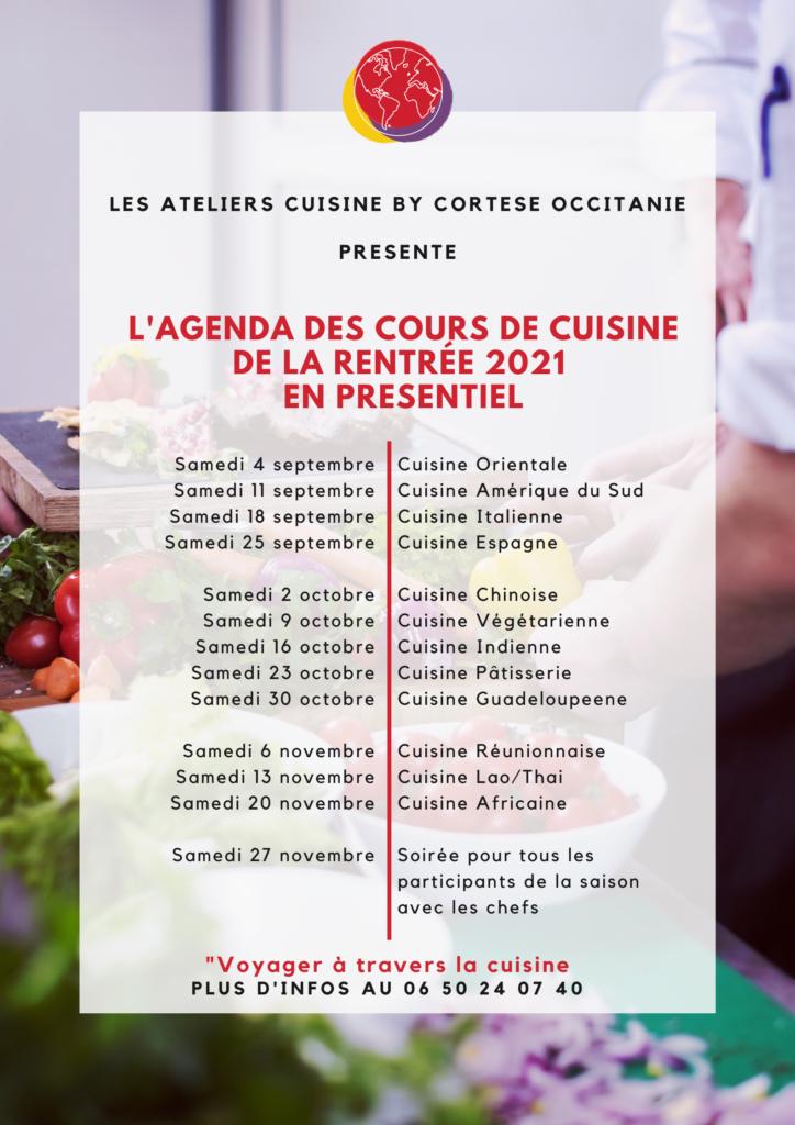 Programme cours de cuisine sept à nov 2021